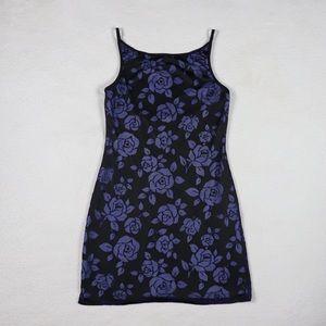 VINTAGE Blue Rose Velvet Mini 90s Dress